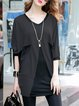 Gray Color-block Batwing Cotton-blend Tunic Top