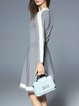 Gray Color-block A-line Casual Sweater Dress