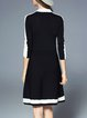 Black Casual A-line Lycra Sweater Dress