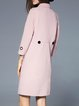 Pink Cotton-blend Casual Pockets 3/4 Sleeve Coat