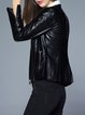 Black Lapel Long Sleeve PU Zipper Biker Jacket