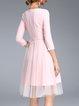 Embroidered 3/4 Sleeve Midi Dress
