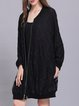 Stand Collar Devore Shift Long Sleeve Casual Coat
