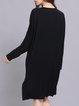 Crew Neck Casual Paneled Cotton-blend Long Sleeve Midi Dresses