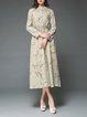 Khaki Casual Floral Midi Dress