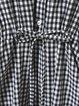 Black-white Gingham V Neck Casual Printed Midi Dress