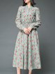Multicolor Linen Long Sleeve Stand Collar Midi Dress