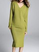 Sheath Long Sleeve Elegant V Neck Knitted Two Piece Top With Skirt