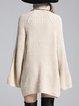Beige Turtleneck Long Sleeve Sweater