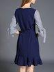 Navy Blue Crew Neck Paneled 3/4 Sleeve  Midi Dress