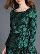 Green A-line Crew Neck Jacquard Long Sleeve Midi Dress