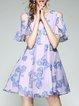 Girly Animal Print Cold Shoulder Cold Shoulder A-line Midi Dress