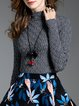 Casual Solid Knitted Stand Collar Sweater