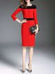 Red-black Sheath Elegant Crew Neck  Midi Dress
