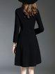 Elegant Crew Neck  Long Sleeve Beaded Midi Dress