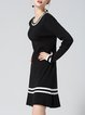 Black Casual A-line Knitted Midi Dress