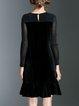 Elegant Flounce Embroidered Long Sleeve Crew Neck Midi Dress