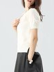 Cashmere Short Sleeve Slit Casual Crew Neck Top