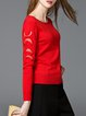 Red Long Sleeve Paneled Solid Knitted Sweater