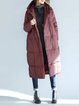 Casual Long Sleeve Feather Down Hoodie Linen Outerwear