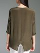 Casual Crew Neck Silk 3/4 Sleeve Tops