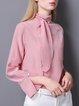 Silk Turtleneck Slit Elegant Long Sleeve Blouse