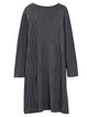 Solid Long Sleeve Shift Knitted Linen Dress