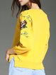 Embroidered Crew Neck Long Sleeve Casual Sweater