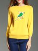 Long Sleeve Crew Neck Embroidered Sweater