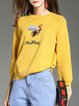 Embroidered Long Sleeve Crew Neck Casual Sweater
