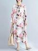 White Casual Floral Cotton Linen Dress