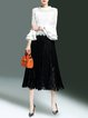 White-black Stand Collar Polyester Bell Sleeve Guipure Lace Top With Skirt