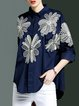 Dark Blue Floral Cotton 3/4 Sleeve Embroidered Blouse