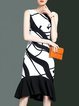 Mermaid Elegant Printed Sleeveless Spandex Midi Dress