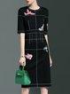 Black Sheath Half Sleeve Midi Dress