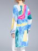 Multicolor Girly High Low Abstract Tencel Top