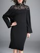 Black Elegant Stand Collar Embroidered A-line Midi Dress