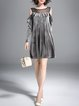 Gray Cold Shoulder  Casual Midi Dress
