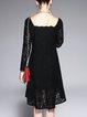 Black Square Neck Guipure Lace Long Sleeve Midi Dress