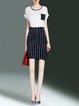Short Sleeve Color-block Casual Sheath Midi Dress