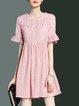 Girly Frill Sleeve Cotton Crew Neck Mini Dress