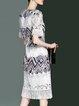 Paneled Sheath Polyester Casual Short Sleeve Midi Dress