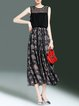 Black Elegant Paneled Crew Neck A-line Midi Dress
