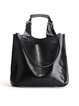 Solid Cowhide Leather Zipper Simple Tote