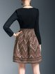 Vintage Cotton-blend Long Sleeve Crew Neck Tribal Mini Dress