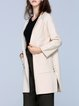 White Solid Pockets Long Sleeve Knitted Cardigan