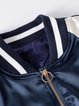 Casual Polyester Embroidered Stand Collar Long Sleeve Coat