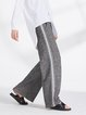 Gray Casual Knitted Wide Leg Pants