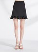 Black Ruffled Girly Solid Flounce Midi Skirt