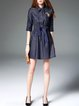 Dark Blue Casual Shirred Shirt Collar Mini Dress